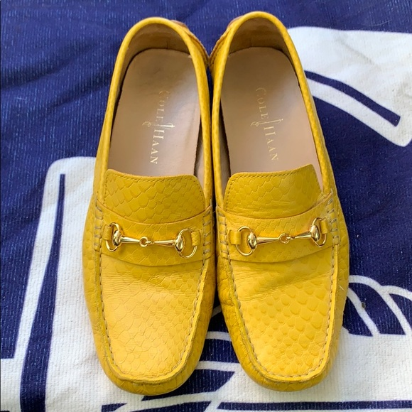 Cole Haan Yellow Horsebit Driving Loafers
